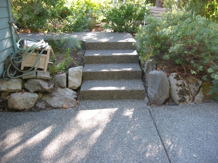 Exposed Aggregate Steps and Sidewalk